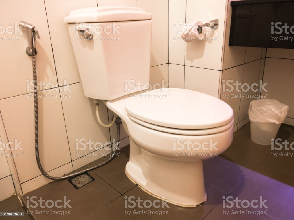 Toilet is piece of hardware used for disposal human urine and feces. Flush toilet is ceramic bowl connect on up side to cistern tank. In toilet have tissue paper roll and bag bin for waste or garbage stock photo