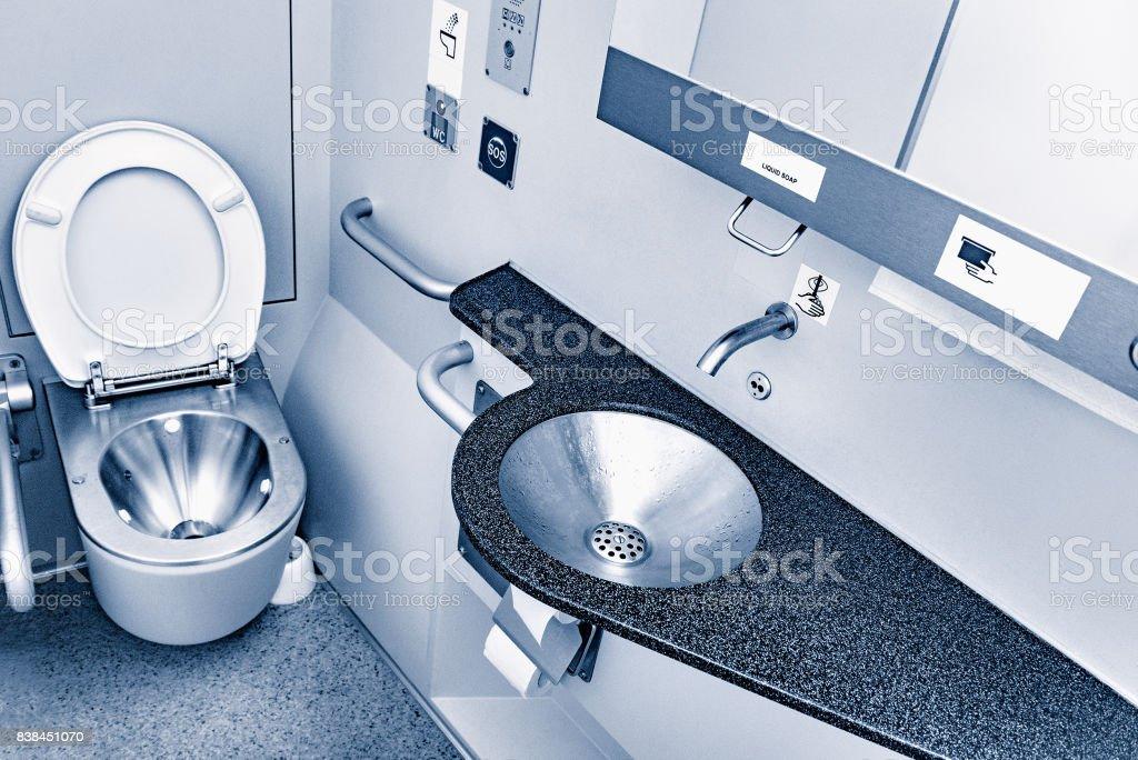 Toilet of the train. stock photo