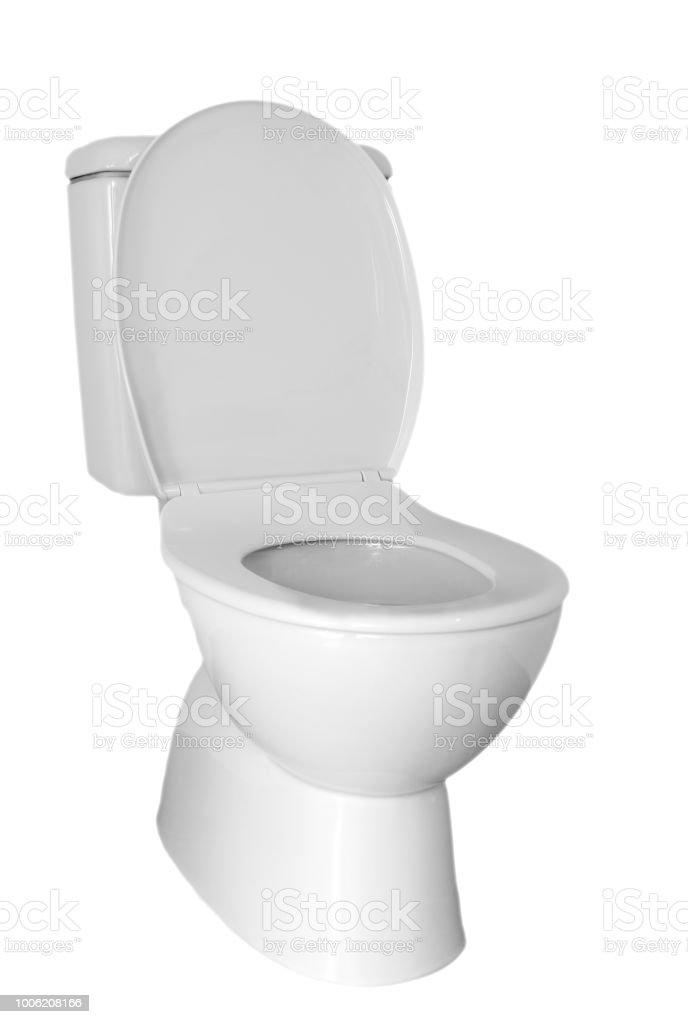 Toilet on white stock photo