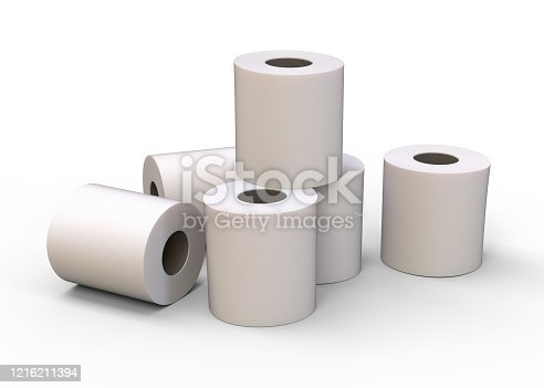toilet paper, stack, 3d rendering, isolated, white background