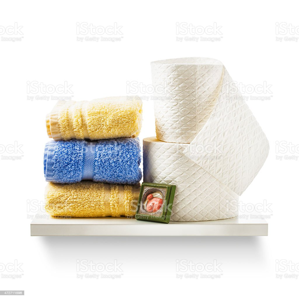 Toilet paper and towels stock photo