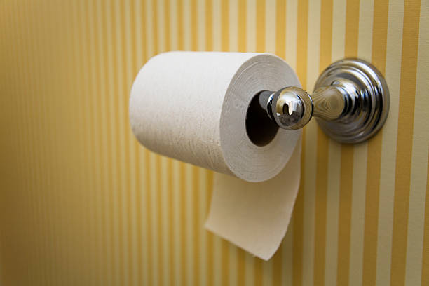 Toilet Paper - Hanging UNDER, in Nice Bathroom Ah, the big debate as to whether the toilet paper hangs over or under the roll. This image is under; see accompanying image for over. toilet paper stock pictures, royalty-free photos & images