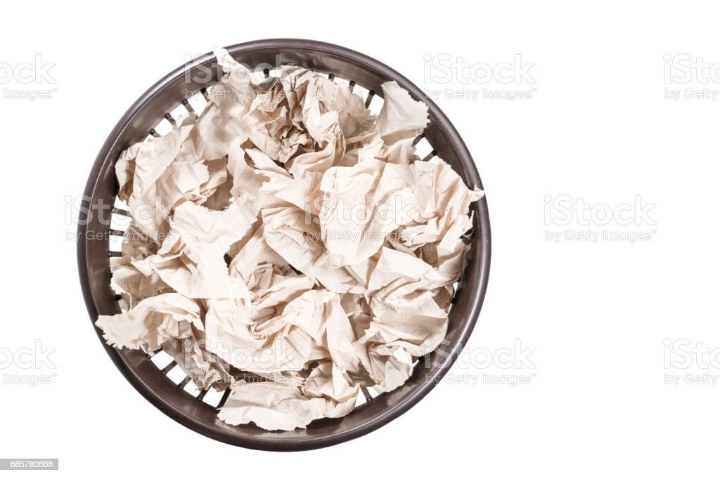 Toilet paper in a bucket royalty-free stock photo
