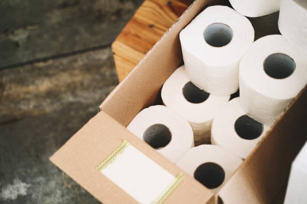 toilet paper in carton craft box in plastic free store. - carta igienica foto e immagini stock