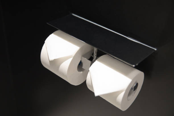Toilet paper in the hotel bathroom stock photo