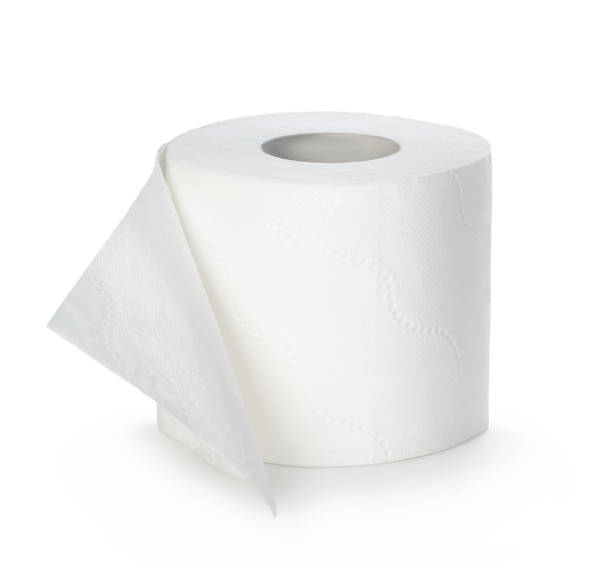 Toilet paper isolated on white background. stock photo