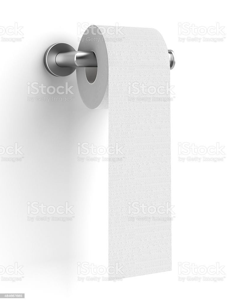 toilet paper on holder stock photo