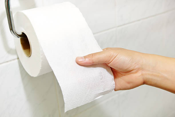 Toilet paper Woman hand holding the roll of toilet paper toilet paper stock pictures, royalty-free photos & images
