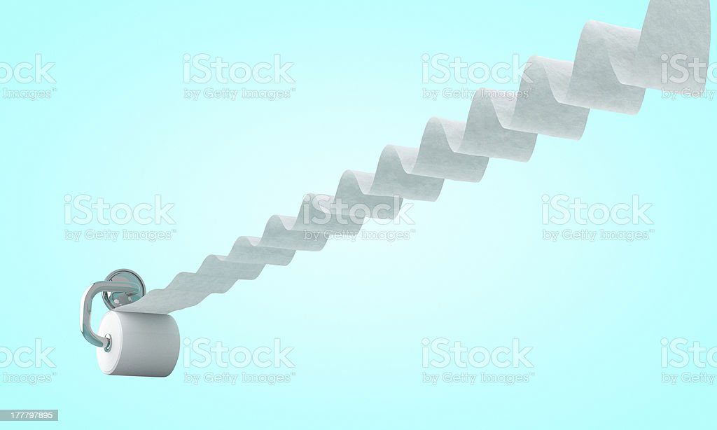 Toilet paper pull out in wavy length stock photo