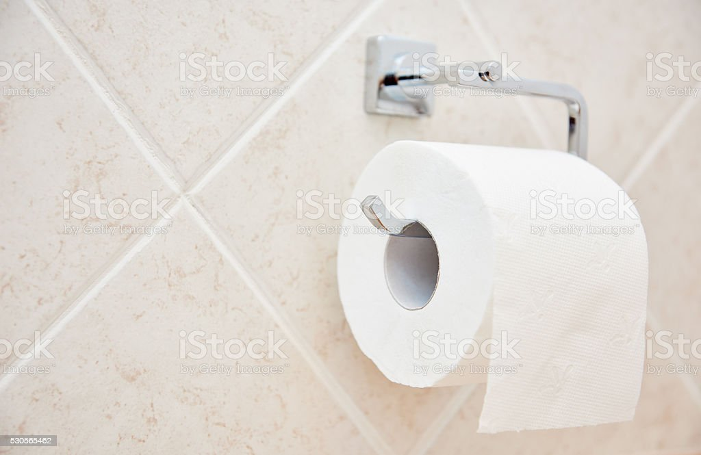 toilet paper roll on wall stock photo