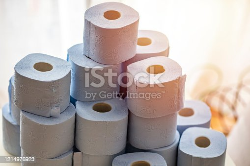 Toilet paper roll. Concept of lack of toilet paper in stores due to coronavirus, Covid-19, hygiene, panic. A pile of Toilet paper rolls. Coronavirus and toilet paper. pandemic and panic concept.