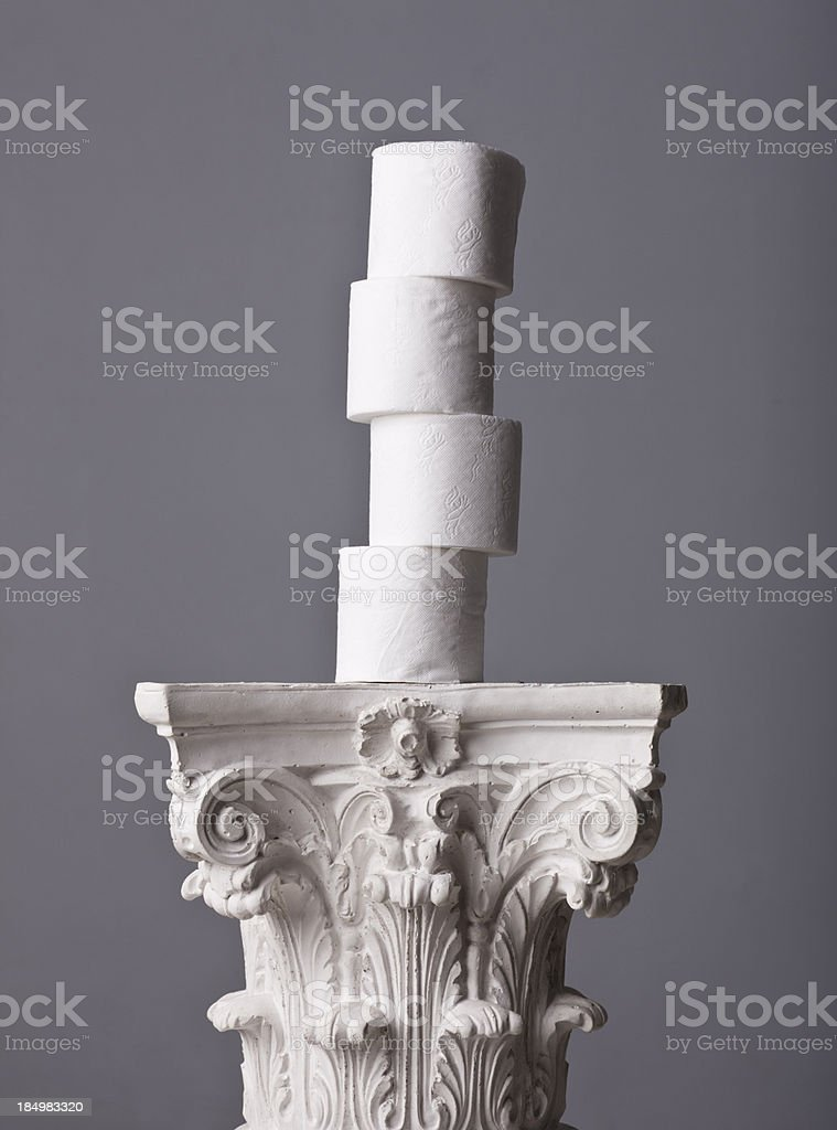 toilet paper tower on a corinthian capital royalty-free stock photo