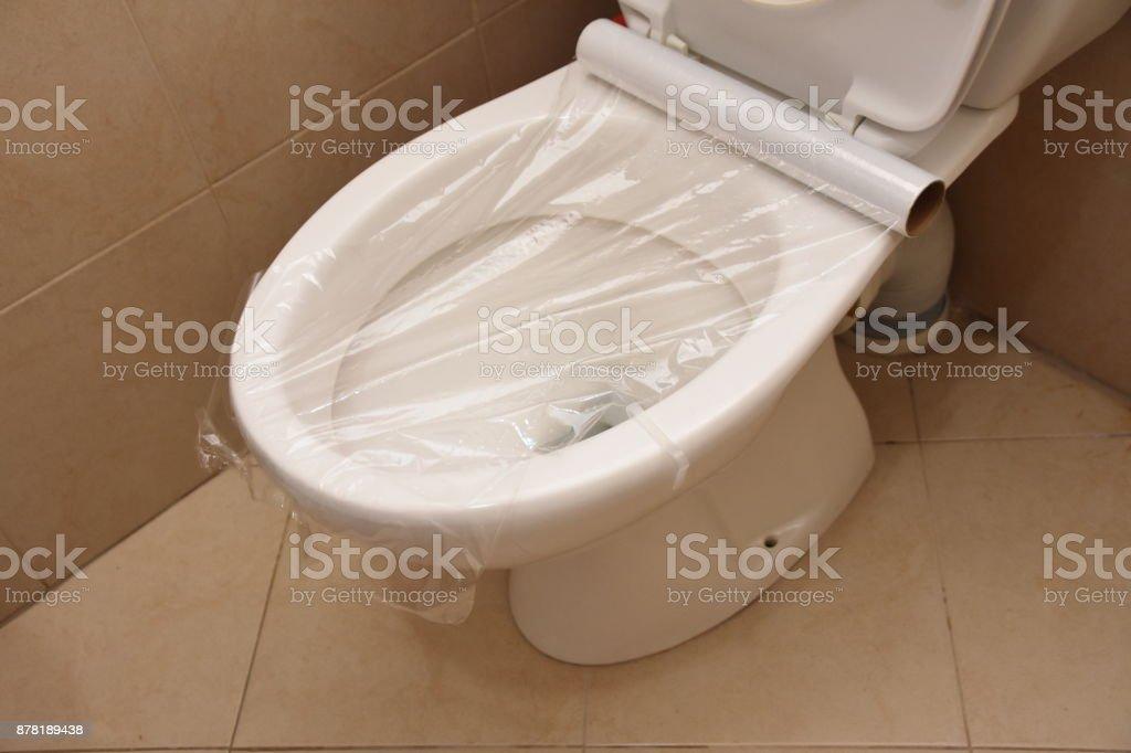 Astonishing Toilet Prank Saran Wrap On The Toilet Stock Photo Download Pdpeps Interior Chair Design Pdpepsorg