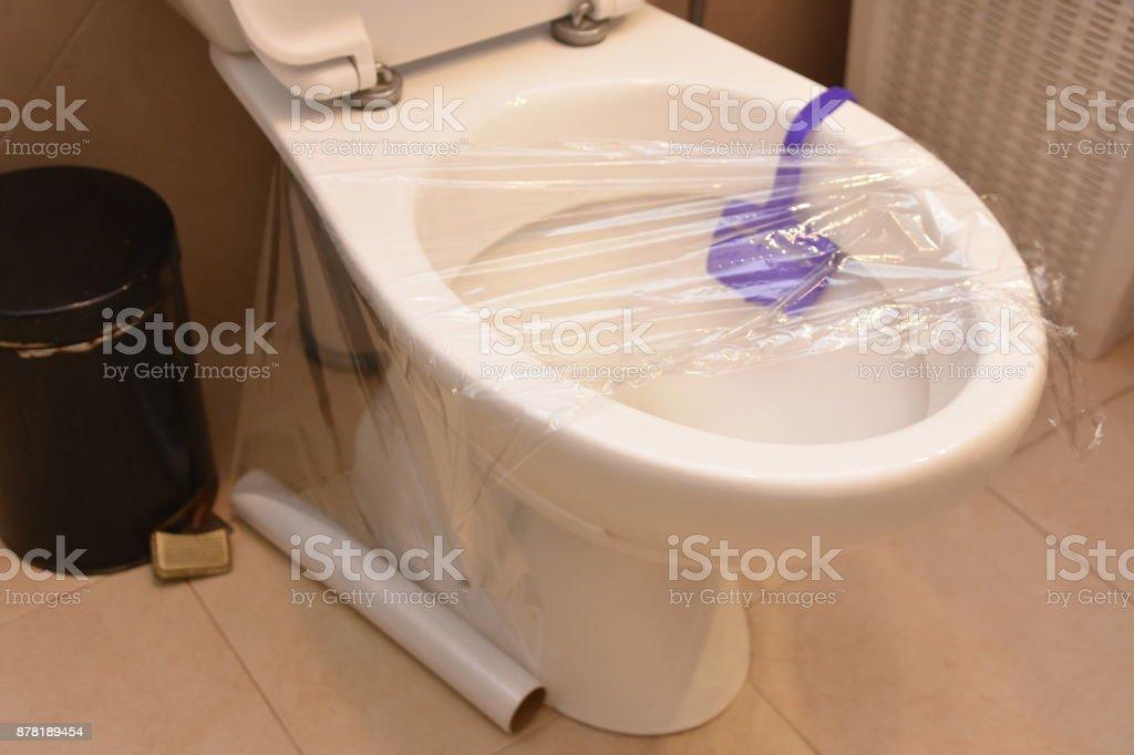 Amazing Toilet Prank Saran Wrap On The Toilet Stock Photo Download Pdpeps Interior Chair Design Pdpepsorg