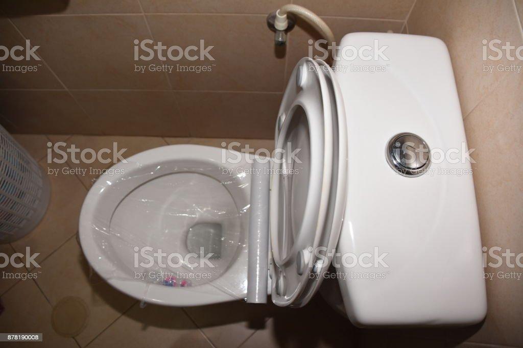 Terrific Toilet Prank Saran Wrap On The Toilet Stock Photo Download Pdpeps Interior Chair Design Pdpepsorg