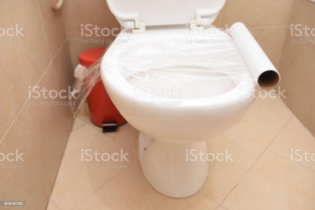 Groovy Toilet Prank Saran Wrap On The Toilet Stock Photo Download Pdpeps Interior Chair Design Pdpepsorg