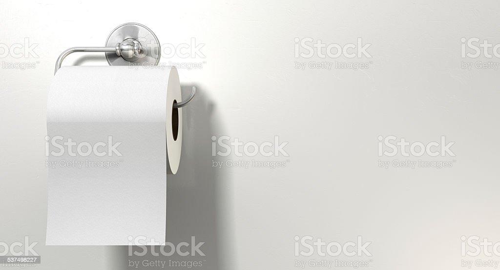 Toilet Roll On Chrome Hanger stock photo