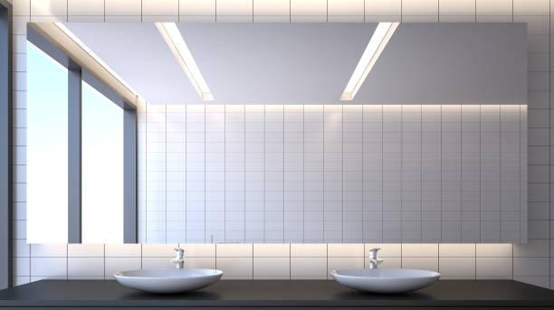 toilet room , 3d rendering - lustro zdjęcia i obrazy z banku zdjęć