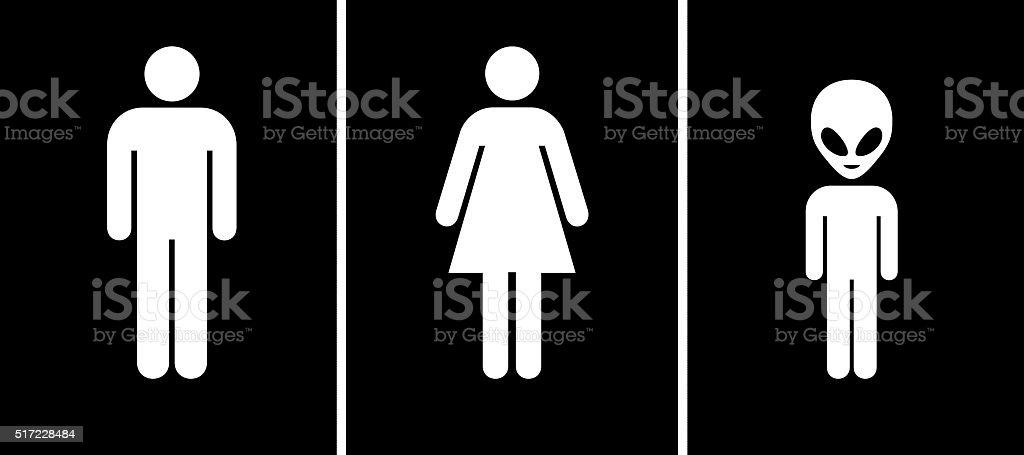 Toilet Sign   Men, Women, Aliens Royalty Free Stock Photo