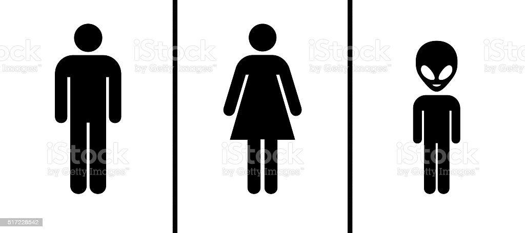Toilet Sign Men Women Aliens Stock Photo