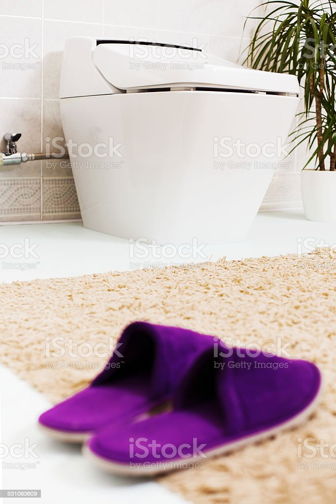 Toilet & slippers stock photo