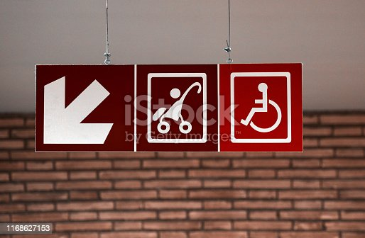 Red toilet symbols directing for baby and disabled