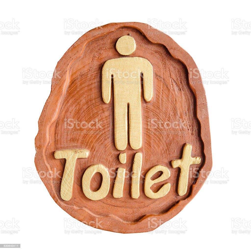 Toilet WC sign for men, handmade from wood stock photo