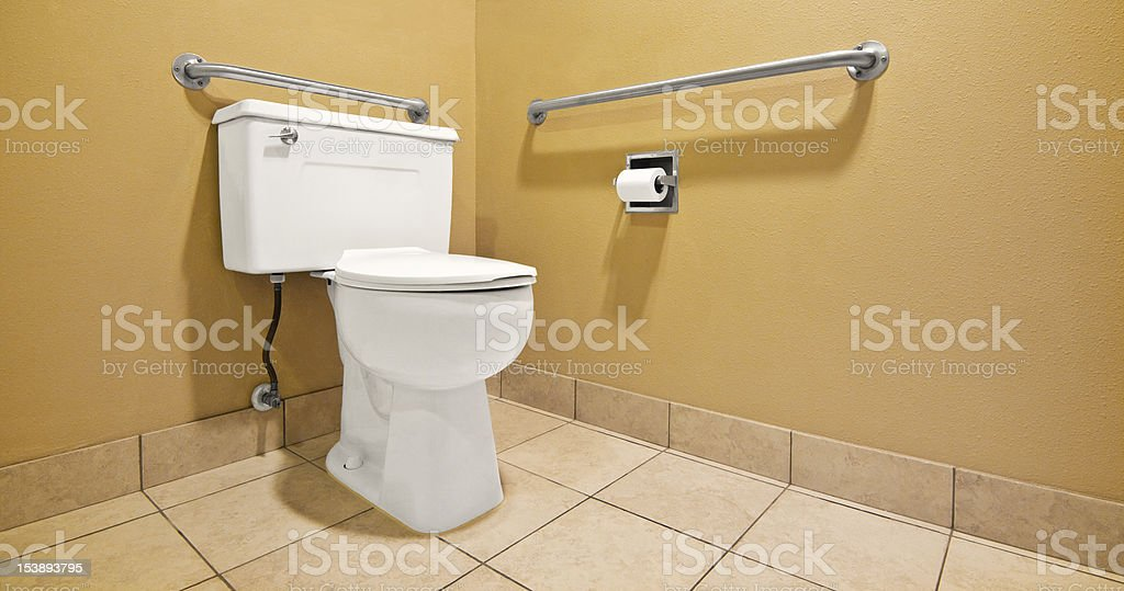 Toilet With Handicap Wall Handles Stock Photo More Pictures Of - Bathroom toilet handles