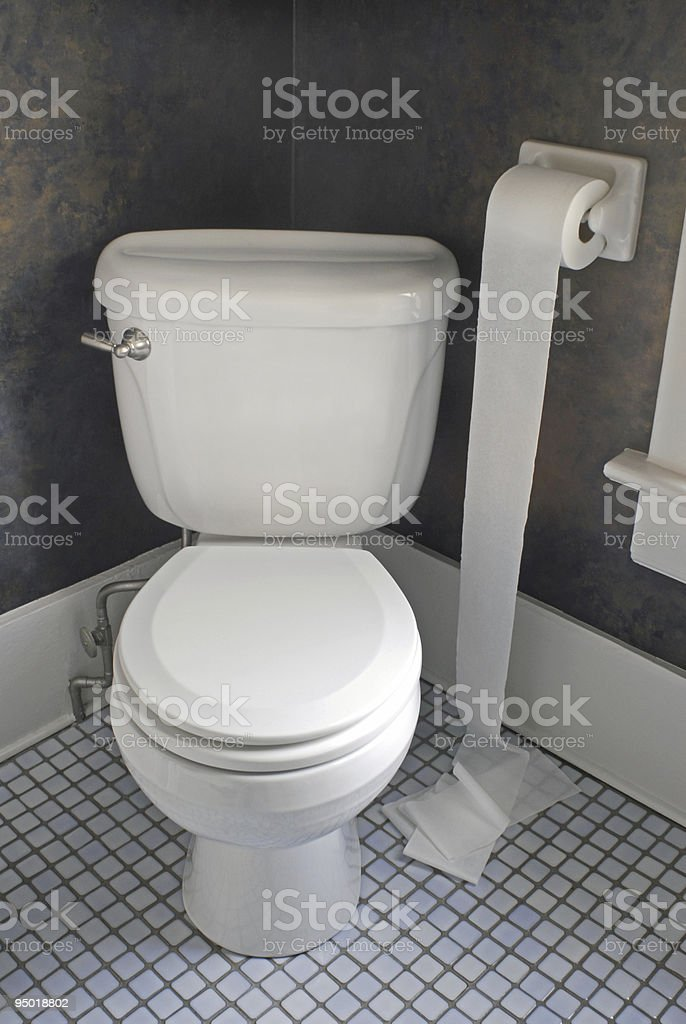 Toilet with  Paper on Floor stock photo