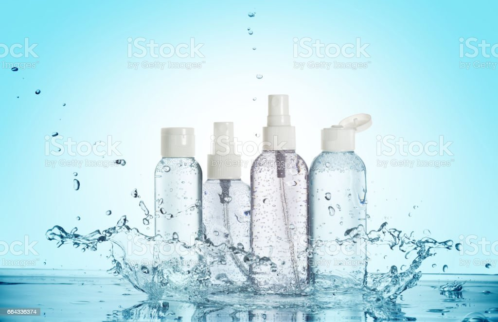 toiletries in a water splash stock photo