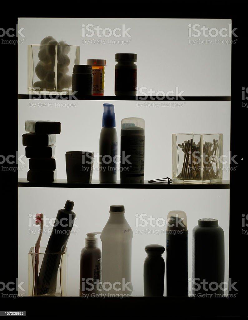 Toiletries in Silhouette stock photo