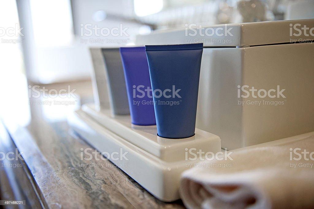 Toiletries on bathroom stock photo