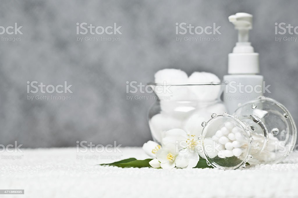 Toiletries with flowers royalty-free stock photo