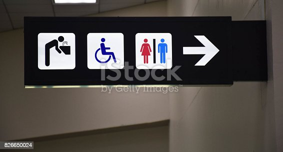 istock Toilets disabled symbol and drinking water signs in departure hall 826650024