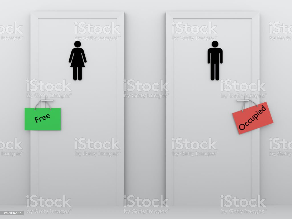 toilets occupied and free stock photo