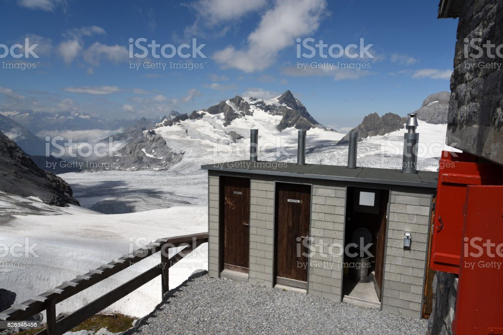Toilett with spectacular view. stock photo
