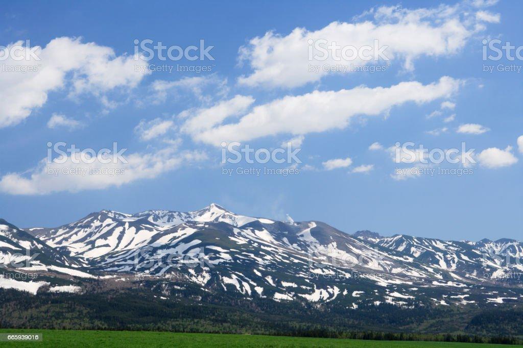 Tokachi-Dake volcano and snow foto stock royalty-free