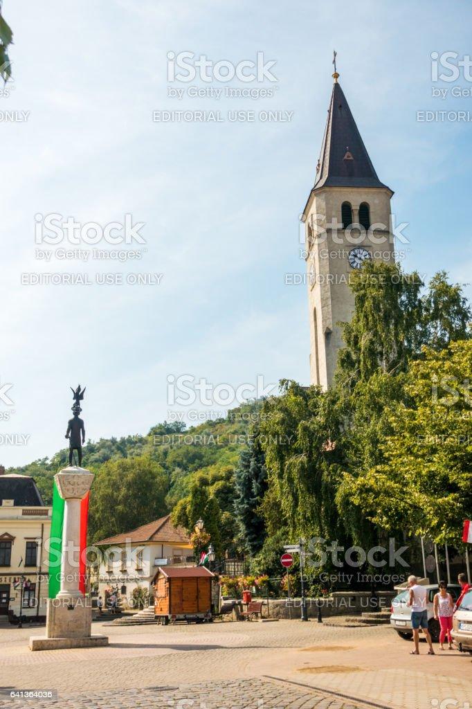 tokai tokaj tokajimajor street church hungarian flag stock photo