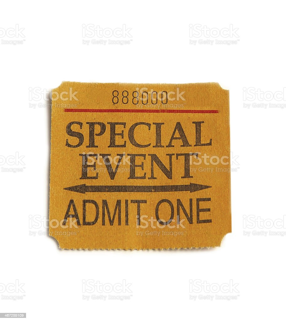 Token for admit one at a special event stock photo