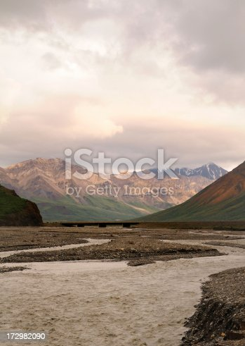 The Toklat River in Denali National Park with rain threatening.