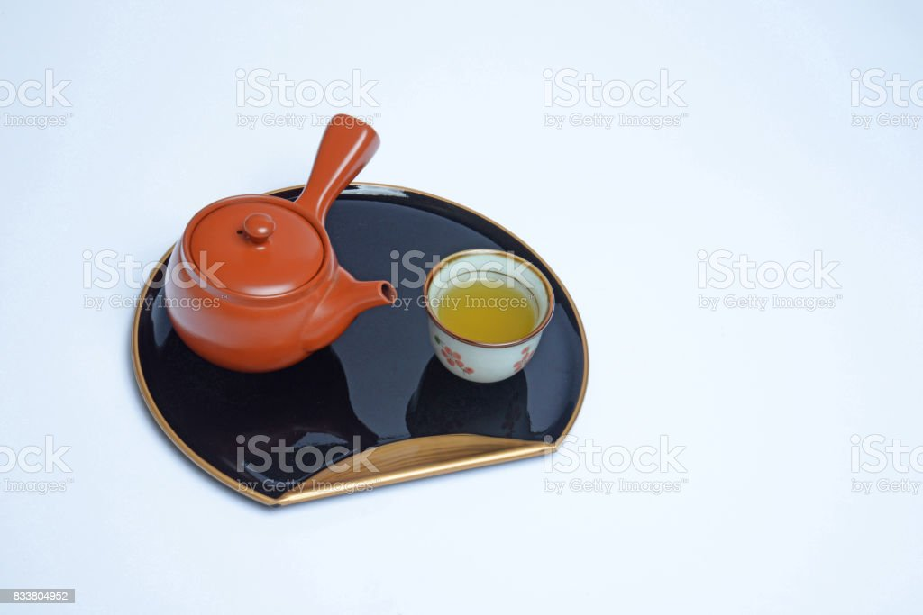 Tokonames teapot and tea stock photo