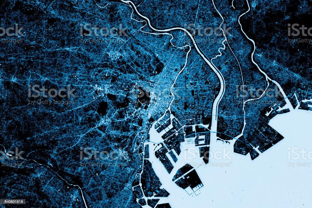 Tokyo Abstract City Map Top View Dark stock photo