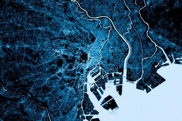 抽象的な東京都内地図上から見る暗い ストックフォト