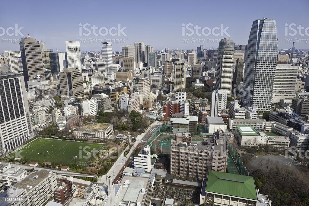 Tokyo aerial city life view skyscrapers apartments homes offices Japan royalty-free stock photo