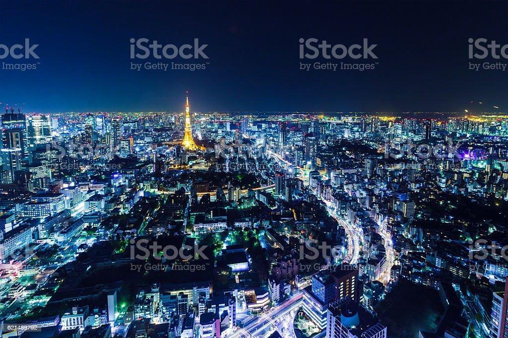 Tokyo dans la nuit photo libre de droits