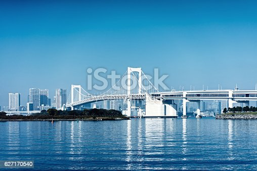 928415496 istock photo Tokyo bay and Tokyo rainbow bridge 627170540