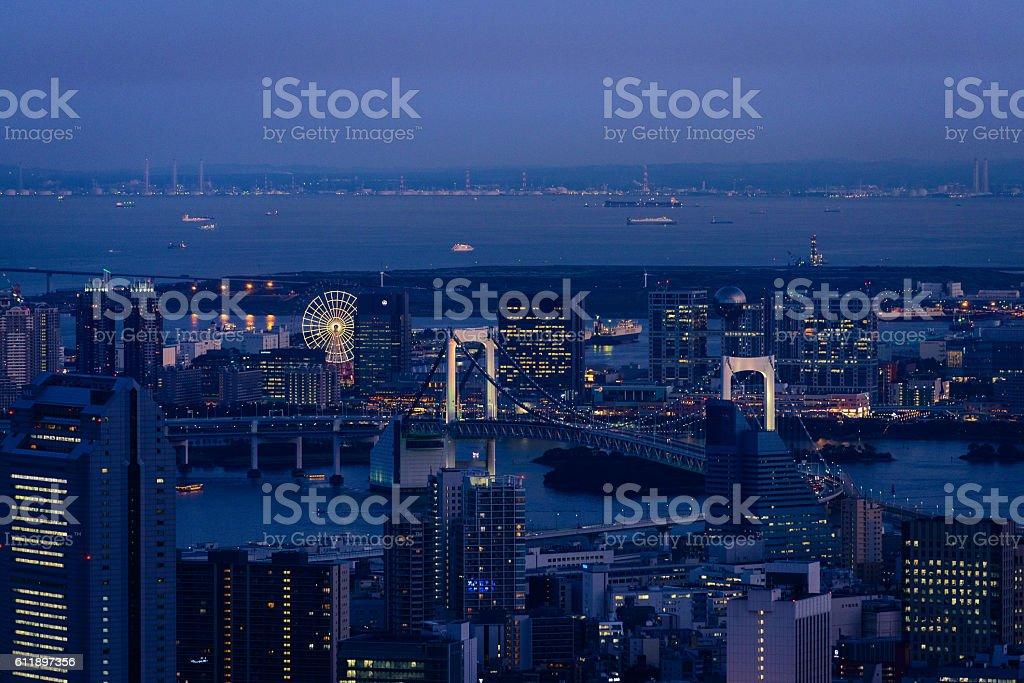 Tokyo bay at dusk from Roppongi Hills stock photo