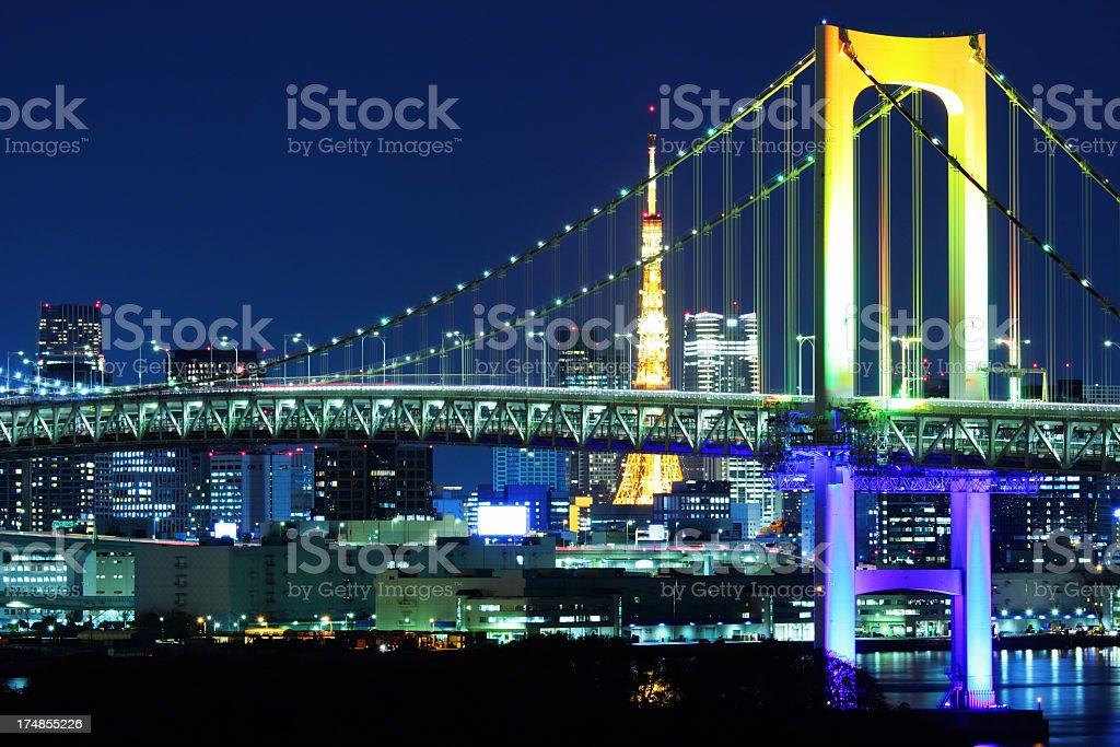 Tokyo Bay at night, japan royalty-free stock photo