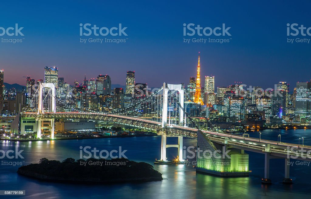 tokyo Bay at Rainbow Bridge stock photo