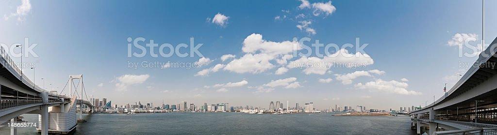 Tokyo Bay Rainbow Bridge waterfront cityscape downtown skyscrapers panorama Japan stock photo